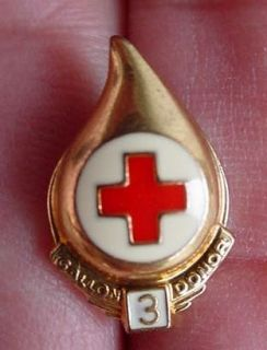 Plated Brass Enamel Arc Red Cross 3 Gallon Blood Donation Pin