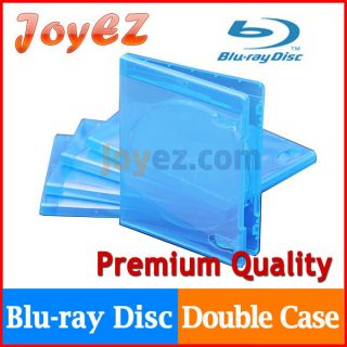 50 Double Capacity Blue Case for Blu Ray DVD CD Disc Movie Box