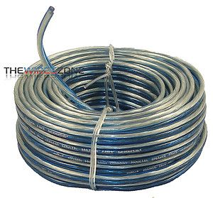 Gauge 40 ft Speaker Wire Home Car Audio Clear Blue Copper OFC