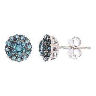 70 Carat Fancy Blue Diamond Cluster Stud Earrings 14k White Gold 38