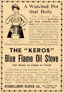 Vintage Ad Keros Kerosene Blue Flame Oil Stove   ORIGINAL ADVERTISING