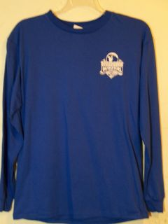Mens New RUGGED EARTH Blue Fishing Long Sleeve Large T Shirt