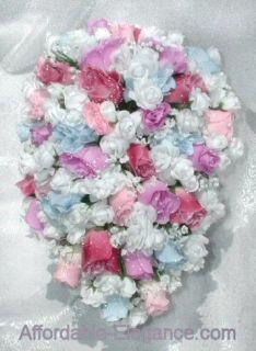 Cascade Bouquet Silk Wedding Flowers Rose Pinks Blue Lavender