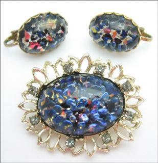Blue Art Glass Brooch Earrings Set Vintage Pin Oval in Goldtone