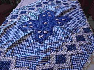 60s Gingham Tablecloth w Hand Embroidery 38 x 52 Blue White