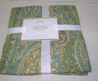 Pottery Barn Blue Green Colette Paisley Shower Curtain Brand New