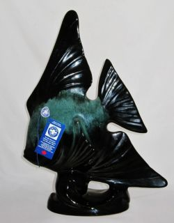Blue Mountain Pottery Angel Fish 16 5 Tall Green