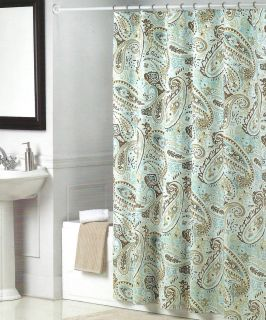 Tommy hilfiger paisley medallion shower curtain blue white brown