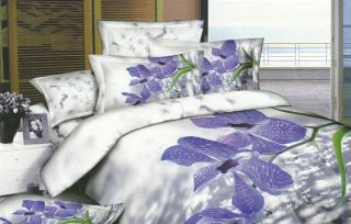 white blue floral with inside filler queen size 4pc bed comforter set