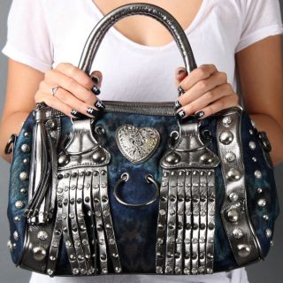 Blue Heart Rhinestone Studded Tassel Satchel Crossbody Shoulder Bag