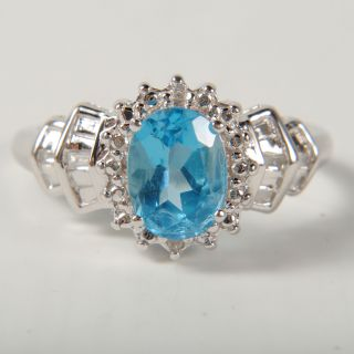 Ladies 1ct Blue Topaz Moissanite 10K White Gold Ring Size 7 75 ♥ 1