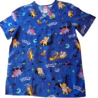 Womens Blue Pooh Bear Tigger Nurse Smock Medical Scrubs Top Holiday