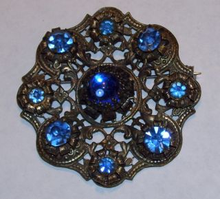 Art Nouveau Blue Glass Brooch Pin Pierced Floral Design