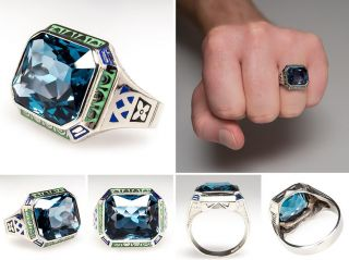 Vintage Mens London Blue Topaz Ring 10K White Gold sku:wm7872
