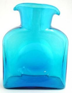 Blenko Blue Glass Double Spout Water Bottle