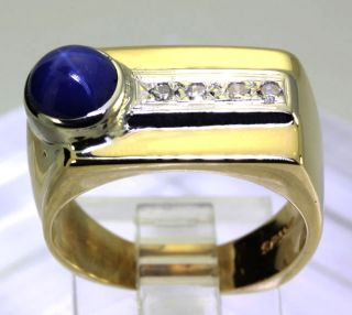 Mens 1 55ct Diamond Vintage Linde Lindy Blue Star Sapphire 14k