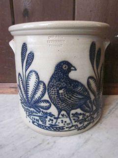 Vintage Cobalt BLUE BIRD Crock BON AQUA TENNESSEE TN Pottery Stoneware