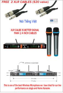 New BMB VM 82U G3 Dual Channel UHF Wireless Microphone System Free XLR