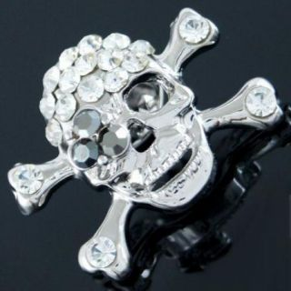P109A Gothic Punk Pirate Skull Bone Clear Black Crystal Little Pin