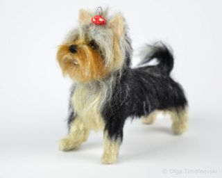 Bonita the Yorkshire Terrier puppy, needle felted figurine by award