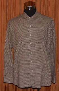 Polo Ralph Lauren Bonnard Long Sleeve Brown White Checkered Shirt Mens