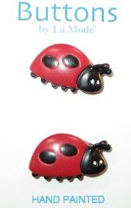 Ladybug Girls Red Black 3D La Mode Buttons 1 2 Card