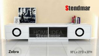 95L New Modern Black or White Piano Paint TV Stand Zebra