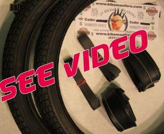 BMX 2 Bike Tires 2 Tubes 2 Rimstrips Kontact Black Freestyle Bicycle