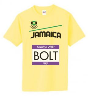Jamaica Usain Bolt Olympics 2012 Name Tag T Shirt Mens Small   XXL (B3