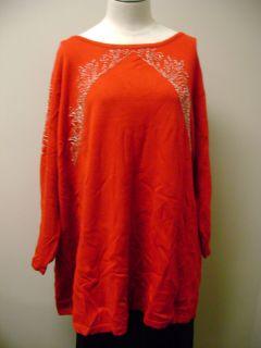 Bob Mackies Rococo Beaded Pullover Red 2X