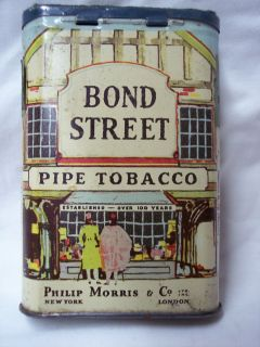 Vintage Bond Street Pipe Tobacco Tin with Mississippi Tax Stamps