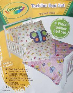 Crayola Butterflies Ladybugs Pink Comforter Sheets 4pc Toddler Bedding