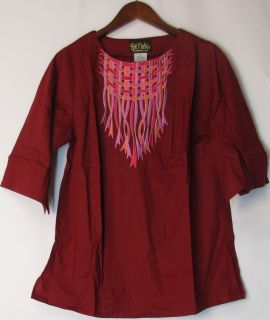 Bob Mackie Sz XS Embroidered Basket Weave Tunic Top Cherry Red New