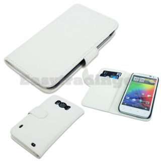 White Book Agenda Type Leather Case HTC Sensation XL X315e with Card