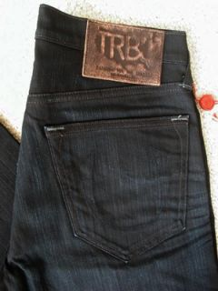 True Religion Mens Bobby Phoenix Straight Jeans in GBD Black Rider