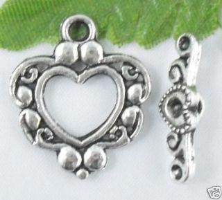 Free Ship 65Pcs Tibetan Silver Heart Shaped Toggle Clasps 21x18mm