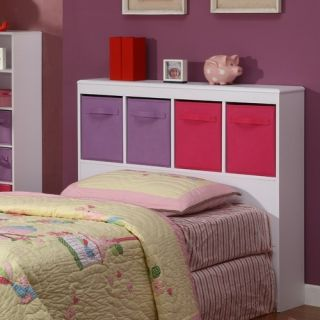 Girls White Bookcase Headboard for TWIN/SINGLE SIZE Bed Frame ~ Wood