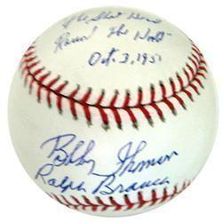 Ralph Branca Bobby Thomson Shot Signed MLB Baseball
