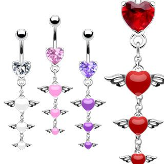 of 4 Heart Angel Wings Dangle Belly Navel Rings Wholesale Body Jewelry