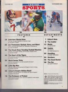 Vintage Inside Sports Magazine Joe Theismann Washington Redskins NFL