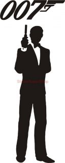 James Bond 007 Silhouette Decal Removable Door Wall Sticker Home Decor