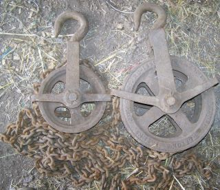 Antique Westin Cast Iron 2 Ton Differential Chain Fall Barn Pulley