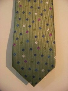 New Haines Bonner of London Hand Made Silk Tie Sage Green Blue Purple