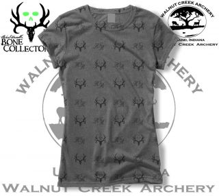 Bone Collector Skulls Antler Logo Charcoal Black Ladies Fitted Shirt
