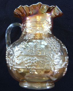 FENTONS DUGAN FLORAL GRAPE MARIGOLD CARNIVAL GLASS WATER PITCHER