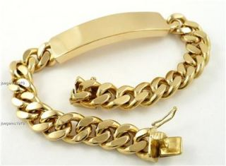Hand Crafted 18k solid 95g Gold Not Hollow 9 mens ID Bracelet 1 2 wide