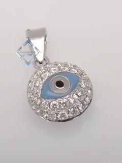 18K White Gold and Micro Pave Diamond Evil Eye Pendant