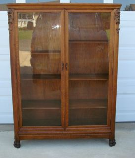 Antique 2 Door Oak Bookcase Lion Heads