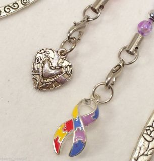 CABM01 Autism Awareness Ribbon Charm Heart Silver Bookmarks WOW