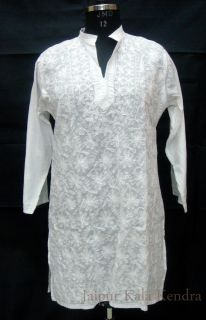 Indian Lucknow Chikan Work Girls Long Kurti Kurta Top Tunic Tradition